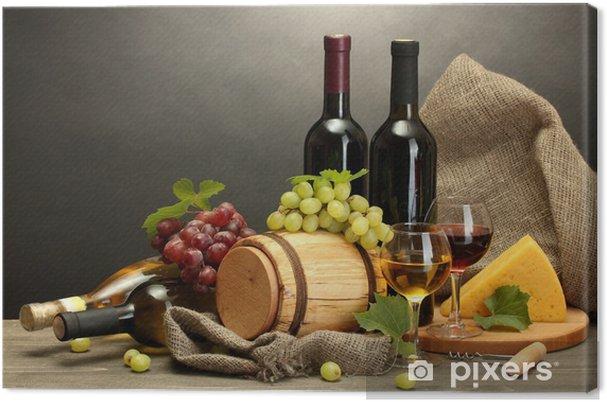 Obraz na płótnie Beczki, butelki i kieliszki wina, serów i dojrzałych winogron - Tematy