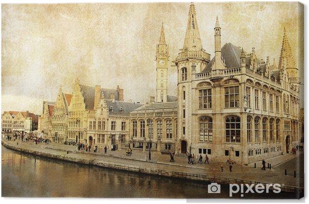 Obraz na płótnie Belgia - Gandawa - obraz w stylu retro -