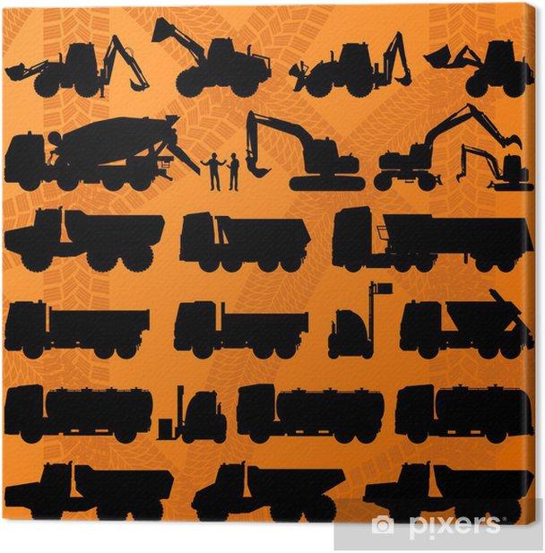 Obraz na płótnie Betoniarka budowlana Koparka, ciężarówka i konkretne szczegółowe - Inne uczucia