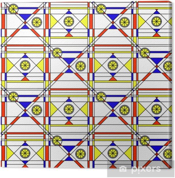 Obraz na płótnie Bez szwu abstrakcyjny wzór. geometryczny druk składający się z niebieski, czerwony, żółty wielokąt i trójkąt i czarne linie na białym tle. wydruk w stylu bauhausu. - Zasoby graficzne