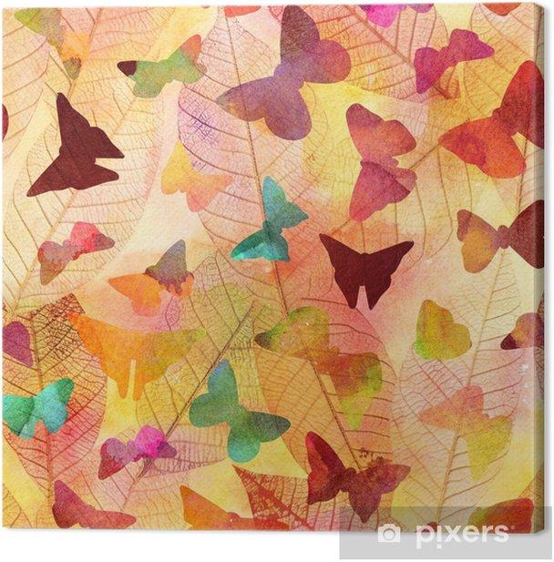Obraz na płótnie Bez szwu akwarela tekstury z motyli i liści szkieletu - Zwierzęta