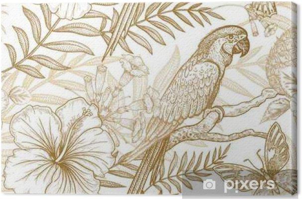 Obraz na płótnie Bez szwu deseń egzotycznych roślin i papug. - Zwierzęta