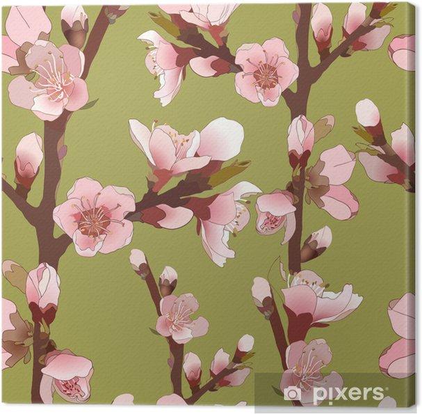 Obraz na płótnie Bez szwu deseń z Kwitnących różowe kwiaty. - Rośliny