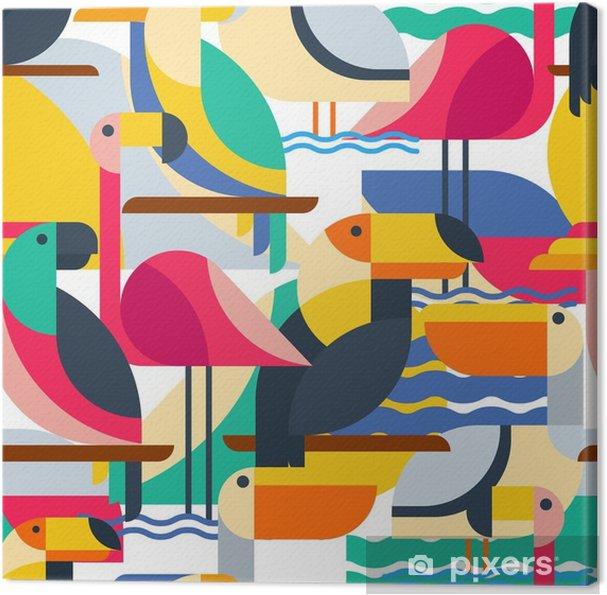 Obraz na płótnie Bez szwu deseń z ptaków tropikalnych. - Zwierzęta