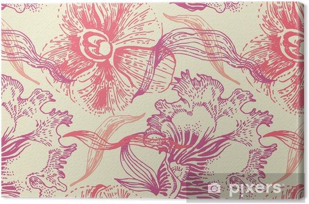 Obraz Na Plotnie Bez Szwu Kwiatowy Wzor Bez Szwu Kwiaty I