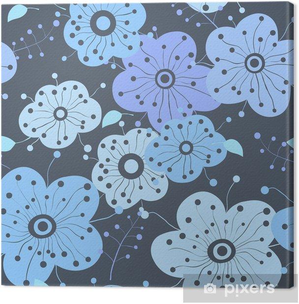 Obraz na płótnie Bezszwowe kwiaty w kolorach zimy - Tła