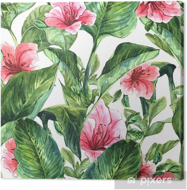 Obraz na płótnie Bezszwowe tło z tropikalnymi liśćmi - Rośliny i kwiaty