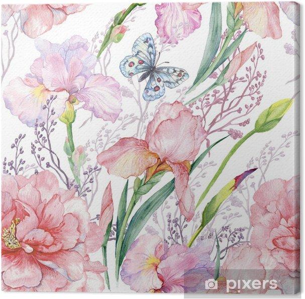 Obraz na płótnie Bezszwowy wzór .irises peonie kwitnie butterfly.exotic druku tkaninę, wallpaper.watercolor ilustracja. - Rośliny i kwiaty