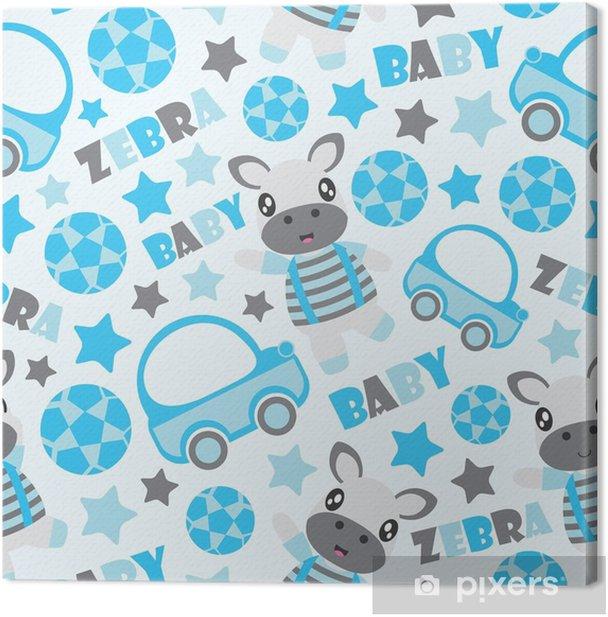 Obraz na płótnie Bezszwowy wzór zebra chłopiec i zabawek wektorowa kreskówka ilustracja dla dzieciaka opakunkowego papieru, dzieciaka tkaniny ubrania i tapety ,. - Zasoby graficzne