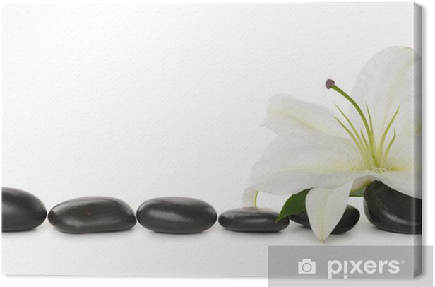 Obraz na płótnie Biała lilia i kamienie - Uroda i pielęgnacja ciała