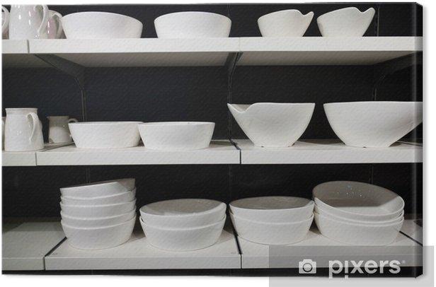 Obraz na płótnie Białe naczynia na półkach - Tematy