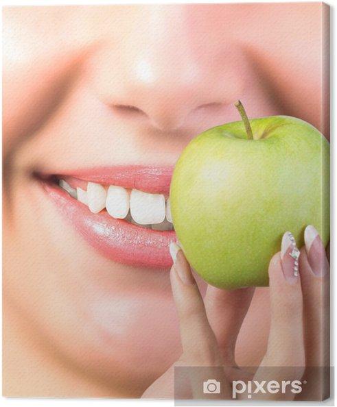 Obraz na płótnie Białe zdrowe zęby Woman.Vitamin zdrowie zębów - Zdrowie i medycyna