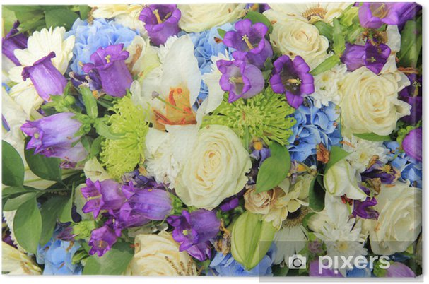Obraz na płótnie Biały i niebieski bukiet ślubny - Świętowanie