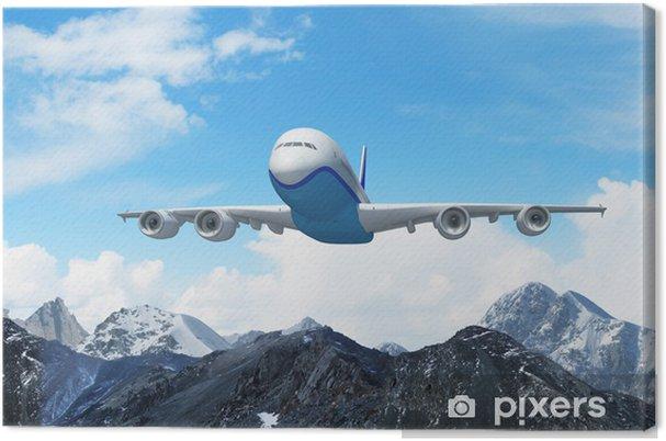 Obraz na płótnie Biały samolot pasażerski nad górami - Niebo
