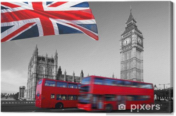Obraz na płótnie Big Ben z autobusów miejskich i flagą Anglii, Londyn - Tematy