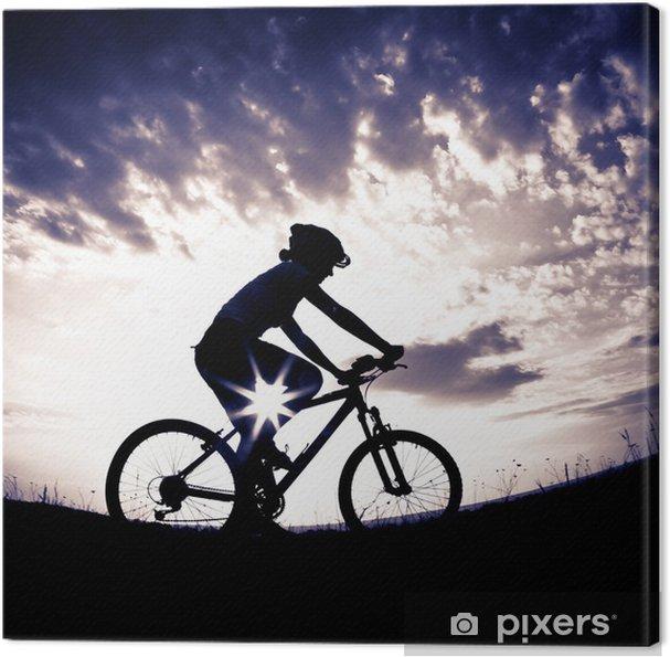 Obraz na płótnie Biker-girl na zachodzie słońca na łące - Kolarstwo