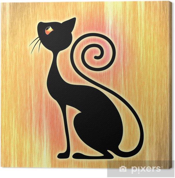 Obraz na płótnie Black Cat Vintage Style Design-Gatto Nero Art Deco - Tematy