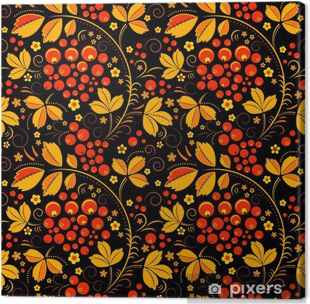 8d0fbedc Obraz na płótnie Black seamless pattern in floral folk tradition