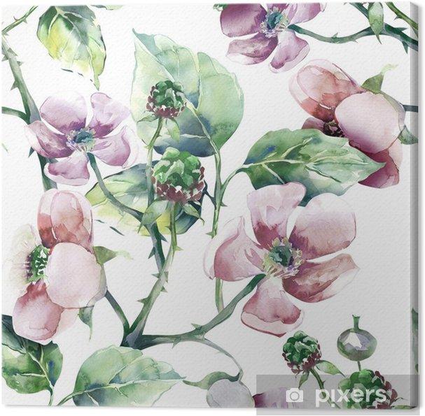 Obraz na płótnie Blackberry flower seamless pattern - Hobby i rozrywka