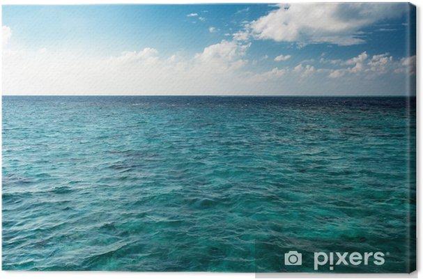 Obraz na płótnie Błękitne niebo pochmurne horyzont nad przejrzystą wodą w ciągu dnia - Krajobrazy