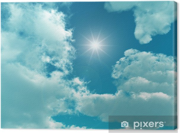 Obraz na płótnie Błękitne niebo z białymi chmurami - cyfrowe grafiki. - Niebo