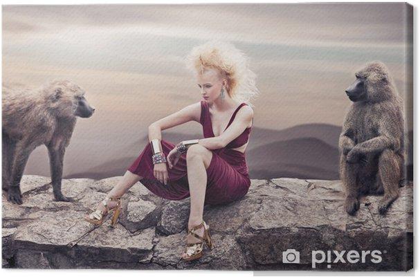 Obraz na płótnie Blond piękność stwarzających z małp - Kobiety