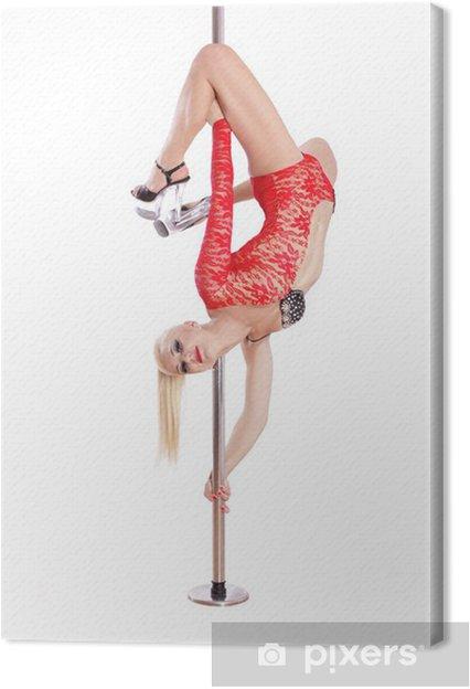 Obraz na płótnie Blond szczupła kobieta pole dance. Wydajność. Sexy dziewczyna na - Kobiety