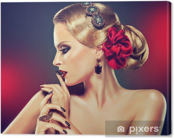 Obraz na płótnie Blonde model bordowy makijaż i fryzura stylowej - Do salonu fryzjerskiego