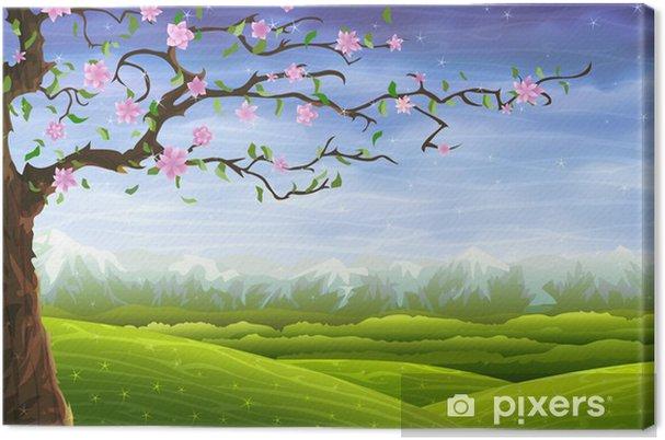 Obraz na płótnie Blooming bajki drzewa na kolorowe toczenia krajobrazu -