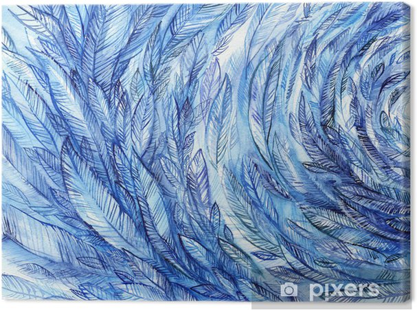 Obraz na płótnie blue feathers in a circle, watercolor abstract background - Tekstury