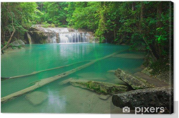 Obraz na płótnie Blue Stream wodospad w Kanjanaburi Tajlandii (Erawan wodospadem - Woda