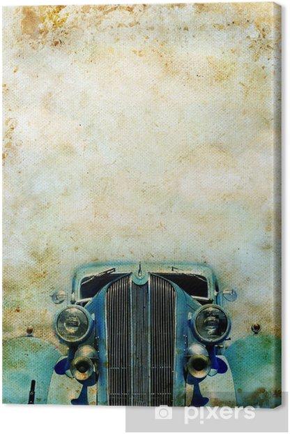 Obraz na płótnie Blue zabytkowych samochodów na grunge tle z kopiowaniem miejsca - Tekstury