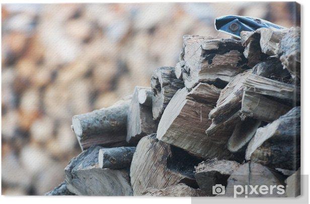 Obraz na płótnie Blured stos drewna - Drzewa