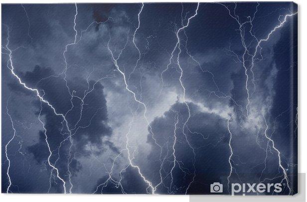 Obraz na płótnie Błyskawice w burzliwe niebo - Klęski żywiołowe