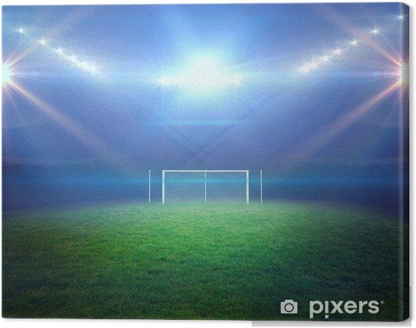 Obraz na płótnie Boisko do piłki nożnej ze światła i bramce - Mecze i zawody