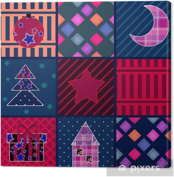 Obraz na płótnie Boże Narodzenie bezszwowe tło patchwork elementy wzoru - Święta międzynarodowe