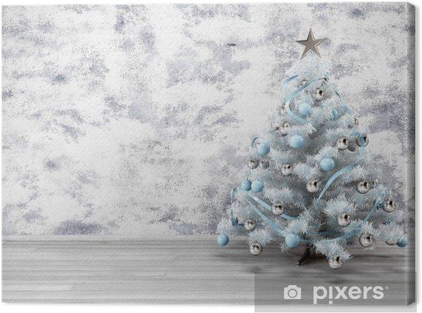 Obraz na płótnie Boże Narodzenie biały niebieski srebrny - Święta międzynarodowe
