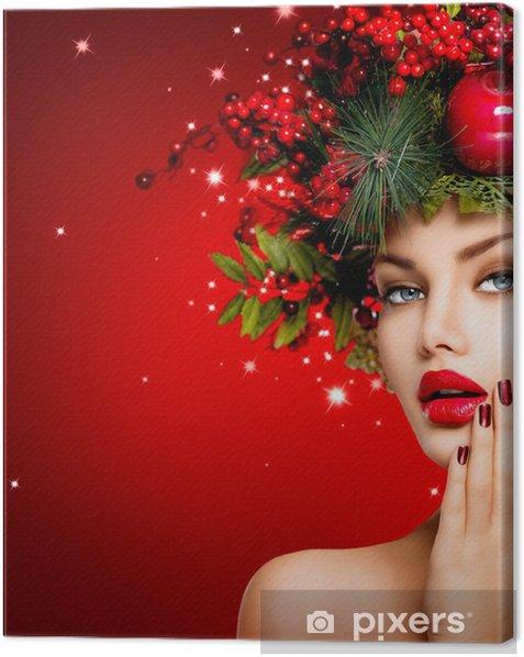 Obraz na płótnie Boże Narodzenie Zima kobieta. Piękna fryzura Świąteczne - Święta międzynarodowe