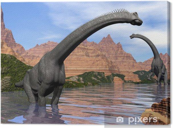 Obraz na płótnie Brachiosaurus dinozaury w wodzie - 3d render - Tematy