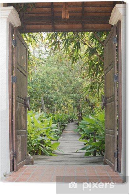 Obraz na płótnie Brama wjazdowa do tropikalnego ogrodu - Budynki użyteczności publicznej