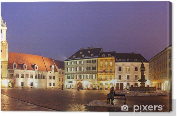 Obraz na płótnie Bratislava Main Square w nocy - Słowacja - Pejzaż miejski