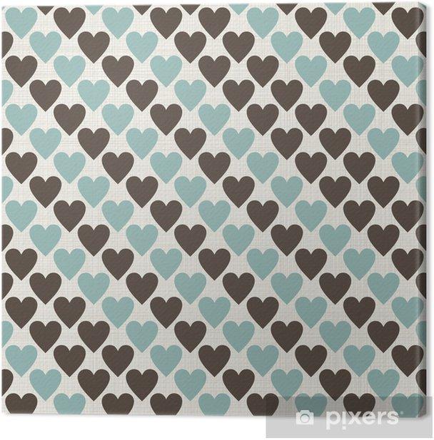 Obraz na płótnie Brązowy, niebieski i szary retro szwu serca w wektorze - Tła