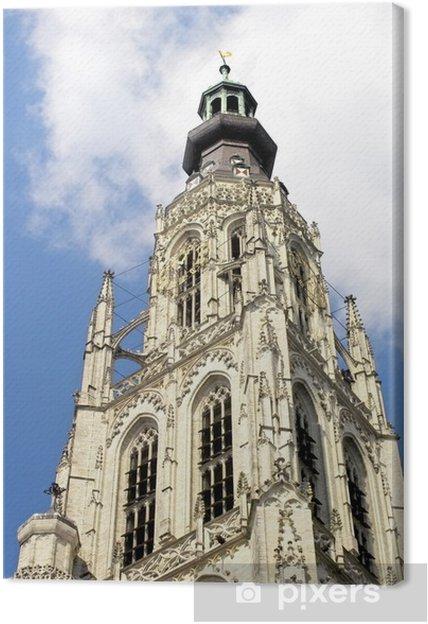 Obraz na płótnie Breda Cathedral wieży na tle błękitnego nieba - Budynki użyteczności publicznej