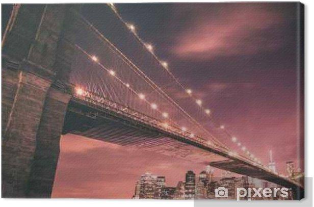 Obraz na płótnie Brooklyn Bridge i Manhattan Skyline w nocy - Podróż
