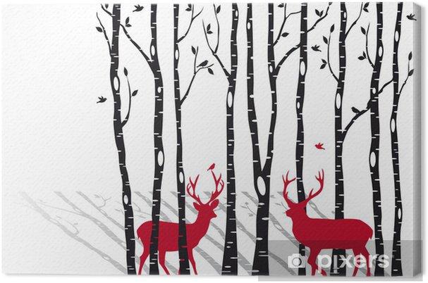 Obraz na płótnie Brzozy z Christmas jelenie, wektor -