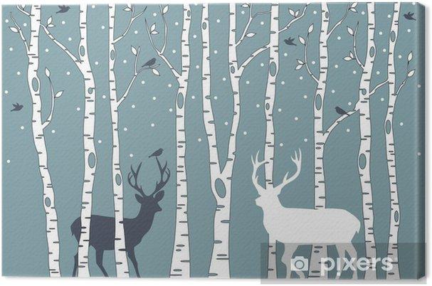 Obraz na płótnie Brzozy z jelenia, wektor tle - Style