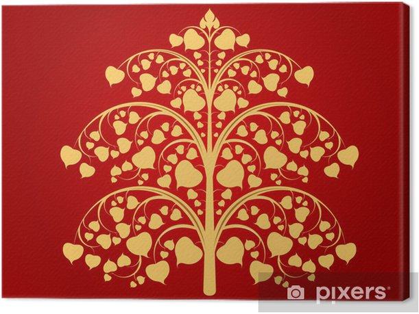 Obraz na płótnie Budda drzewo sztuki wzór na czerwonym tle - Sztuka i twórczość