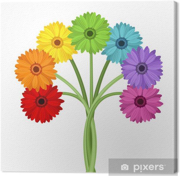 Obraz na płótnie Bukiet kolorowych kwiatów gerbera. Ilustracji wektorowych. - Kwiaty