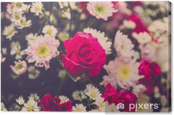 Obraz na płótnie Bukiet róż ślubne kwiat. Filtr Retro - Rośliny i kwiaty