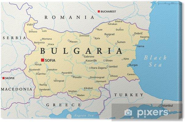 Karta Na Bulgaria.Obraz Na Plotnie Bulgaria Map Mapa Bulgarii Pixers Zyjemy By